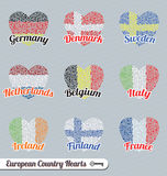 Vector Set: European Flag Heart Labels and Icons. Collection of European counrty flags shaped like hearts and made out of smaller hearts Stock Images