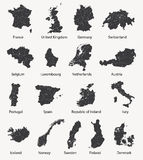 Vector set of european maps with region borders Stock Photography