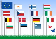 Vector set A of European Union flags. Royalty Free Stock Image