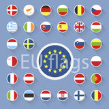 Vector set of European Union flags. Flat design Royalty Free Stock Photos