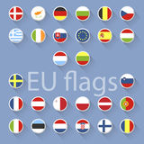 Vector set of European Union flags. Flat design Royalty Free Stock Photo