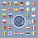 Vector set of European Union web button.Flat design. Stock Image