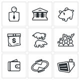 Vector Set of Exchange Icons. Broker, Bank, Piggy, Money, Bull and Bear, Quotes, Purse, Monitor. Stock Photos