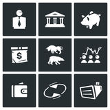 Vector Set of Exchange Icons.. Man, Building, Accumulate, Bag Exchange Schedule Finance Rotating Equipment Royalty Free Stock Image