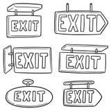 Vector set of exit sign. Hand drawn cartoon, doodle illustration stock illustration