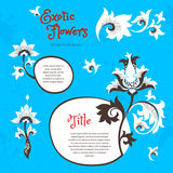 Vector set with exotic flowers in Chinese style. Vector set with fantastic exotic flowers in Chinese style. Luxury ornament. Bright blue floral illustration Royalty Free Stock Photography