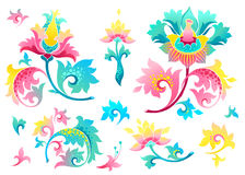 Vector set with exotic flowers in Chinese style. Vector set with fantastic exotic flowers in Chinese style. Luxury ornament. Bright colorful floral illustration Stock Photo