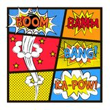 Set of explosion in pop art style Royalty Free Stock Photos
