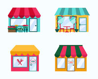Vector set of exterior buildings shop city elements Stock Photography