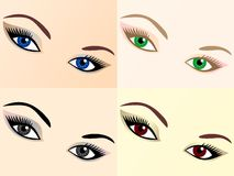 Vector set of eye images of different colors. Four images of black eyes, brown, blue and green Royalty Free Stock Image
