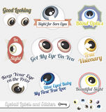 Vector Set: Eyeball and Tagline Labels and Icons. Collection of labels with eyeballs and taglines Royalty Free Stock Photo