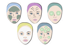 Vector set of faces. With facial mask and massage lines Royalty Free Stock Photos