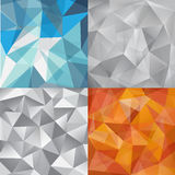 Vector set of faceted abstract crystal backgrounds grey, blue, orange. triangular style. Stock Photos
