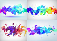 Vector set of faceted 3d crystal colorful shapes, banners. Faceted 3d shapes, crystal banners. Horizontal orientation Stock Image