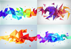 Vector set of faceted 3d crystal colorful shapes, banners.   ,. Vector set of faceted 3d crystal colorful shapes, banners. Faceted 3d shapes, crystal banners Stock Photos