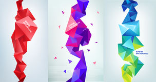 Vector set of faceted 3d crystal colorful shapes, banners. Vertical orientation backgrounds Royalty Free Stock Photos