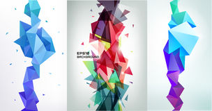 Vector set of faceted 3d crystal colorful shapes, banners. Vertical orientation backgrounds Stock Photography