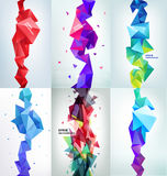 Vector set of faceted 3d crystal colorful shapes, banners. Vertical orientation backgrounds Stock Images