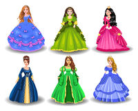 Vector set of fairytale princesses Royalty Free Stock Images