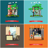 Vector set of family concept design elements in flat style. royalty free illustration