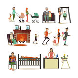 Vector set of family concept design elements, icons, flat style. Stock Photo