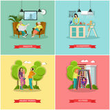 Vector set of family and housewife concept banners, posters. Royalty Free Stock Photo
