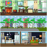 Vector set of family interior concept design elements, flat style Royalty Free Stock Photos