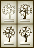 Vector set of family tree designs. With frames and autumn leafs. Place for text vector illustration