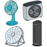 Vector set of fan. Hand drawn cartoon, doodle illustration royalty free illustration