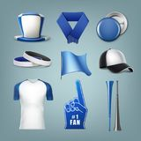 Set of fans acessories. Vector set of fans accessories in white and blue colors. Isolated on background Stock Image