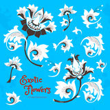 Vector set with fantastic flowers in Chinese style. Vector set with fantastic exotic flowers in Chinese style. Luxury ornament. Bright blue floral illustration Stock Image