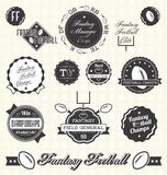 Vector Set: Fantasy Football Labels. Collection of retro style fantasy football labels and icons Stock Image