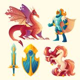 Vector set of fantasy game design objects stock illustration