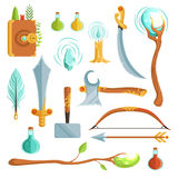 Vector set of fantasy magic weapons. Illustrations for computer game. Magic book and candle, potion and feather Royalty Free Stock Images