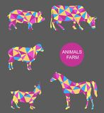 Vector set of farm animals cow, sheep, goat, pig, horse. Stock Image