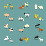 Vector Set of  Farm Animals. Farm animals set in flat vector style Royalty Free Stock Photo