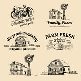 Vector set of farm fresh logotypes. Bio products badges collection. Vintage hand sketched agricultural equipment icons. royalty free illustration