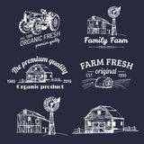 Vector set of farm fresh logotypes. Bio products badges collection. Vintage hand sketched agricultural equipment icons. Vector retro set of farm fresh logotypes vector illustration
