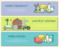 Vector set of farm horizontal banners in flat linear style Royalty Free Stock Image