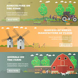 Vector set of farm horizontal banners in flat style Stock Images