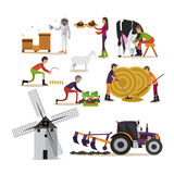 Vector set of farming concept design elements in flat style Royalty Free Stock Image