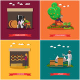 Vector set of farming posters, banners in flat style. Royalty Free Stock Images