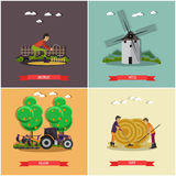 Vector set of farming posters, banners in flat style. Stock Images