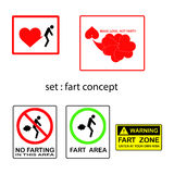 Vector set of fart concept with signs and symbols Royalty Free Stock Image