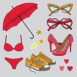 Vector set with fashion accessories. Royalty Free Stock Image