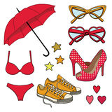 Vector set with fashion accessories. Royalty Free Stock Photography