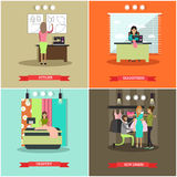 Vector set of fashion atelier flat posters Stock Photo