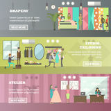 Vector set of fashion atelier horizontal banners in flat style Royalty Free Stock Photo