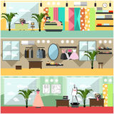 Vector set of fashion atelier interior flat posters, banners Stock Images