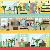 Vector set of fashion atelier posters, banners in flat style Stock Photos